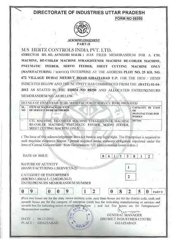 Quality Certification Hertz Controls India Pvt Ltd